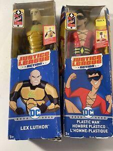 """DC Justice League Action: PLASTIC MAN & LEX LUTHOR 12"""" Posable Action Figures!"""