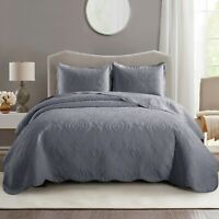 3 Pcs Reversible Grey Quilted Bedspread Double King Size Bed Throw Comforter Set