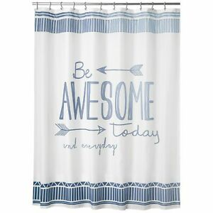 """mDesign """"Be Awesome"""" - Easy Care Fabric Shower Curtain - 72"""" x 72"""" - Blue/White"""