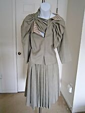 Anne-Valerie Hash Made in France 100% Lame/wool Unique 2pc Skirt Suit Sz L