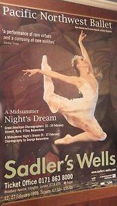 "40x60"" SUBWAY POSTER~Pacific Northwest Ballet Midsummer Night's Dream Sadler's~"