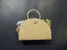 VINTAGE Barbie Straw Flower Filled Bag- Purse Accessories #923
