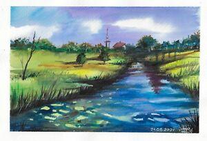 original painting A4 133RK art samovar watercolor modern landscape river village