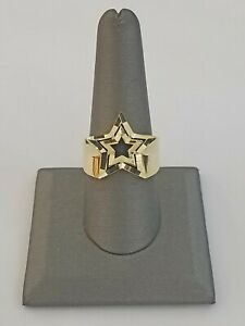 10k Yellow Gold Double Star Mens Ring Diamond Cut Design Real 10kt /casual pinky