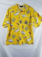 Mens Columbia Sportswear Yellow Hawaiian Shirt With Fish Accent Size M