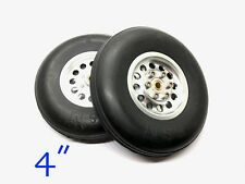 "1 Pair 4"" CNC Aluminum Hub & Rubber Wheel for RC Airplanes (US SELLER & SHIP)"