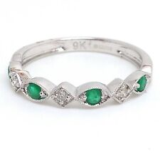 9ct white gold emerald & diamond half eternity ring, UK Size O, new, actual one.
