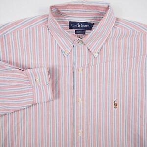 Ralph Lauren Yarmouth Pink Blue Men's 17-34 Striped Button Up Long Sleeve Shirt