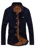 Fur Lined Mens Warm Solid Blouse Casual Long Sleeve Coat Corduroy Shirt Shirt 3X