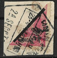 MACAU 1911 2a bisect on piece, half of 4a. Scott #159 used (25¢ comb'd shipping)