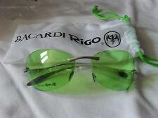 coole Bacardi Rigo-Sonnenbrille, grüne Gläser, Rahmenlos, Neu & OVP