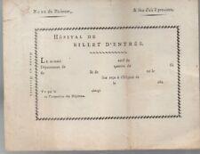 Billet d'entrée à l'hôpital vers 1800, non écrit. XIX° siècle.Médecine