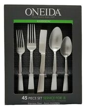Oneida Anderson Stainless Steel Flatware 45 Piece Set Service For 8 H223045a For Sale Online Ebay
