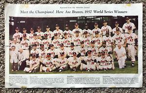 "MLB 1957 Milwaukee Braves 9.25"" X 15"" Team Re-print from the Milwaukee Journal"