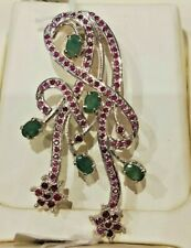 """Natural Emerald & Ruby Pendant Pure 925 Solid Sterling Silver Exclusive Design"""""""