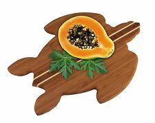Totally Bamboo Sea Turtle Cutting Serving Board Caribbean Inlay Eco-Friendly