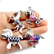 21692 4pcs/set Mixed Silver Animal Donkey Horse Pearl Bead Cage Locket Bulk Sale