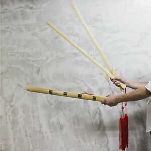Dual Bamboo Swords Scabbard Red Tassels Wushu Tai chi Kung Fu Training Twins MMA