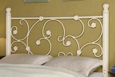Transitional White Full/Queen Metal Headboard w/ Flowers by Coaster 300185QF