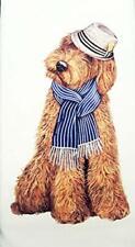 Mary Lake Thompson Goldendoodle Labradadoodle Dog Fedora Hat Cotton Dish Towel