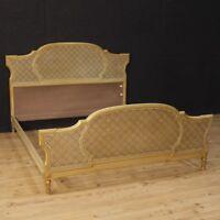 Letto matrimoniale mobile italiano stile antico Luigi XVI laccato legno dorato