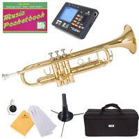Mendini Bb Trumpet Gold Lacquered Student Band +Tuner+Case+CareKit ~MTT-L
