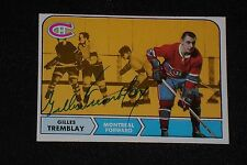 GILLES TREMBLAY 1968-69 TOPPS SIGNED AUTOGRAPHED CARD #66 CANADIENS