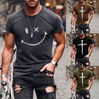❤️ Mens Printed Short Sleeve Crew Neck T-Shirt Tops Casual Fitness Muscle Blouse