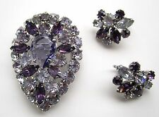 VINTAGE SIGNED SHERMAN BROOCH & EARRINGS - PURPLE & ALEXANDRITE RHINESTONE