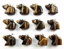 12PCS Wholesale unique brown tiger eye gemstone carved bear pendant bead Vk4600