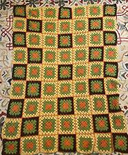 Vintage Crochet Afghan Throw Blanket Brown, Gold, Orange, Green 1970s Boho