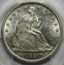 "1861  50C SEATED LIBERTY HALF., PCGS AU58 ""GOLD SEAL"""