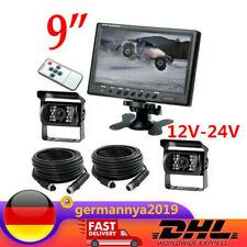 """NEU Für Bus LKW Caravan 9"""" LCD Monitor 2*4 Pin 9 LED KFZ Rückfahrkamera 12V-24V"""