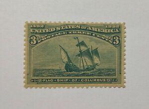 US Stamp Scott #232 MNH VF : 1893 Flag Ship Of Columbus 3¢ Green CV $100