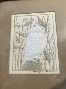 Vtg Mid Century Danish Walnut Owl Engraving Artist Signs Dovetailed Frame 11x8.5
