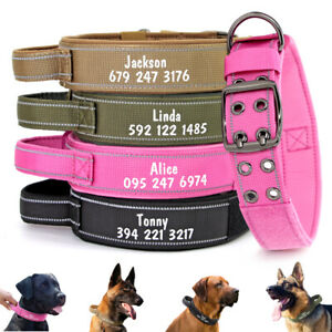Tactical Heavy Duty Nylon Dog Collars Military with Handle Personalised Name ID