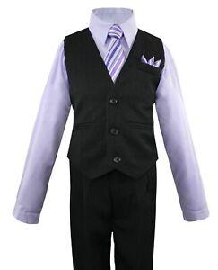 Boys Vest Set with Colored Dress Shirt, Tie Pinstripe Vest and Pants Sizes 2T-14