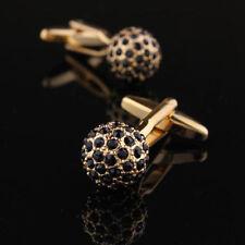 Black Full Crystal Cufflink Silver Business Cufflink Spherical Wedding Cufflinks