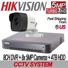 Hikvision 5MP TURBO HD 8CH CCTV KIT: 8CH DVR W/4TB HDD + 8x 5MP IR Mini-Bullet