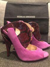Nicholas Kirkwood Violet Suede Python Heels Shoes Orig $935