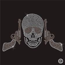 Skull Shades Gun Rhinestone Diamante Transfer Iron On Hotfix Gem T Shirt Motif