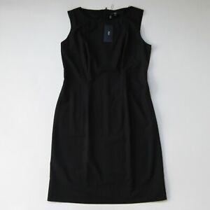 NWT BOSS Hugo Boss Dinoma in Black Stretch Wool Sleeveless Sheath Dress 12