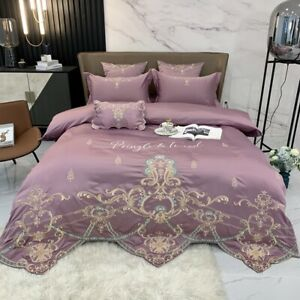 4pcs Bedding Set Luxury Real Silky Cotton Embroidery Duvet cover set flat sheet