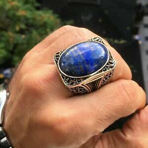 Lapis Lazuli Mens Ring 925 Sterling Silver Large Heavy Artisan Jewelry