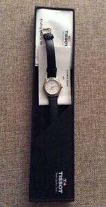 Authentic Tissot pr50 Black Leather Strap Watch Pre-Owned Ladies Petite
