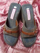 "UK3 Euro 36 ODEON Summer Fashion Stripe Denim Sandals Platform Shoes 3+1"" Heels"