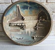 Antique Primitive Wood Bowl Painted High Relief Night Waterfall Folk Art AAFA