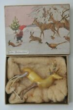 VTG HAND BLOWN GERMAN XMAS GLASS REINDEER in ORIGINAL BOX FROHE WEIHNACHTEN!