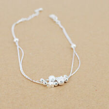 Silver Plated Anklet Bracelet Beads Jewelry Star Foot Chain Beach Sandal Girls