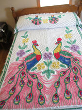 Vintage 1950 Double Peacock Chenille Bedspread, Exquisite Colorful Bedding 99x90